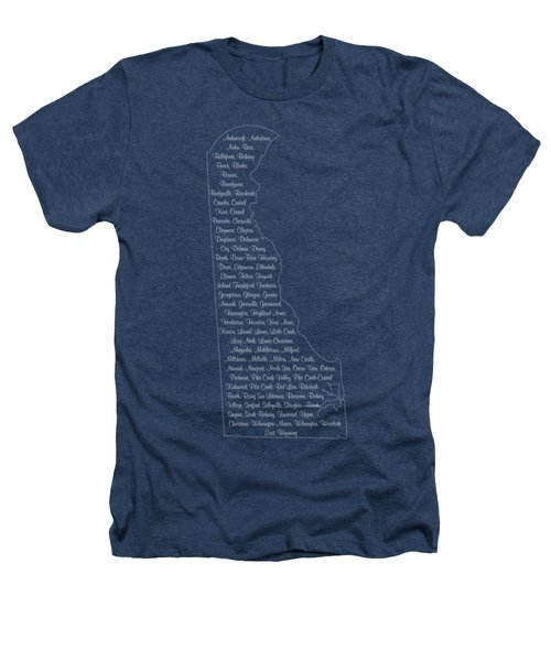 Cities And Towns In Delaware White Heathers T-Shirt by Custom Home Fashions