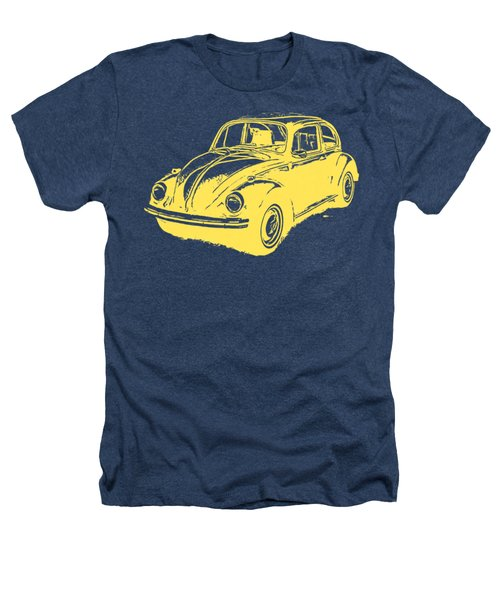 Classic Vw Beetle Tee Yellow Ink Heathers T-Shirt by Edward Fielding