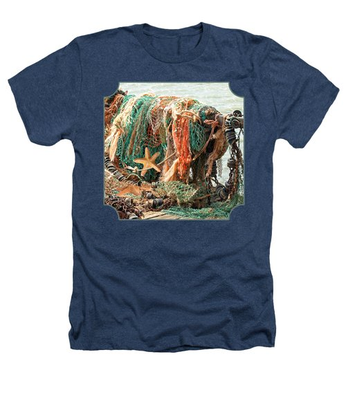 Colorful Catch - Starfish In Fishing Nets Square Heathers T-Shirt by Gill Billington