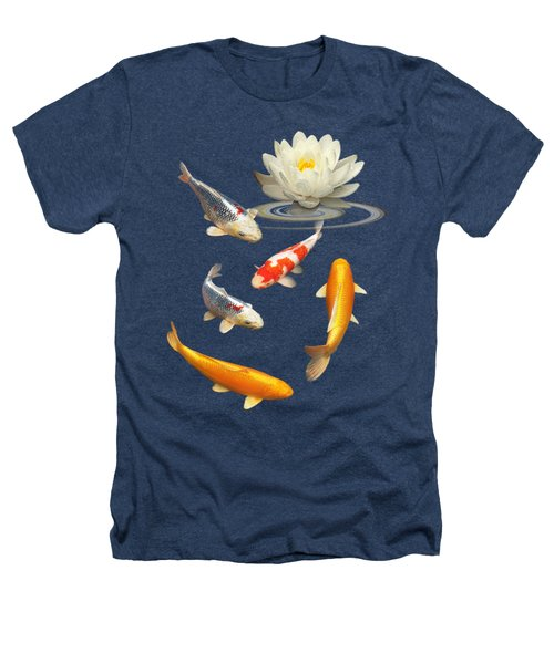 Colorful Koi With Water Lily Heathers T-Shirt by Gill Billington