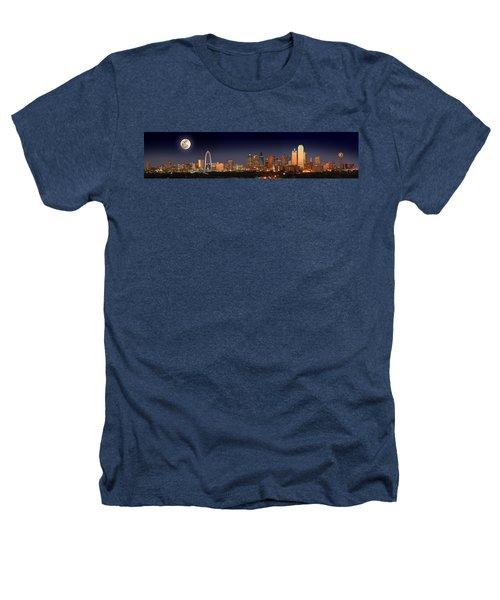 Dallas Skyline At Dusk Big Moon Night  Heathers T-Shirt by Jon Holiday