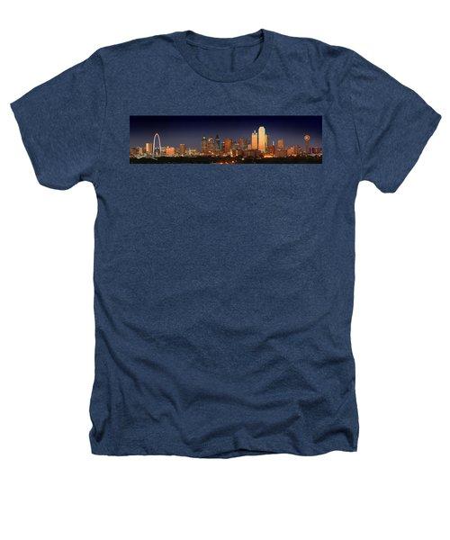 Dallas Skyline At Dusk  Heathers T-Shirt by Jon Holiday