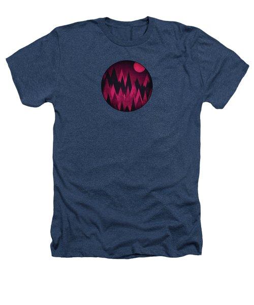 Dark Triangles - Peak Woods Abstract Grunge Mountains Design In Red Black Heathers T-Shirt by Philipp Rietz