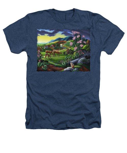 Deer Chipmunk Summer Appalachian Folk Art - Rural Country Farm Landscape - Americana  Heathers T-Shirt by Walt Curlee