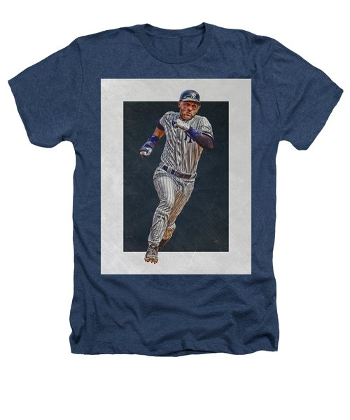 Derek Jeter New York Yankees Art 3 Heathers T-Shirt by Joe Hamilton