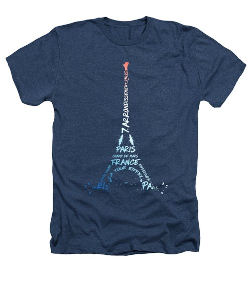 Digital-art Eiffel Tower National Colours Heathers T-Shirt by Melanie Viola