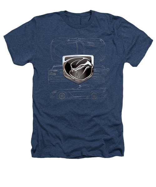 Dodge Viper  3 D  Badge Over Dodge Viper S R T 10 Silver Blueprint On Black Special Edition Heathers T-Shirt by Serge Averbukh