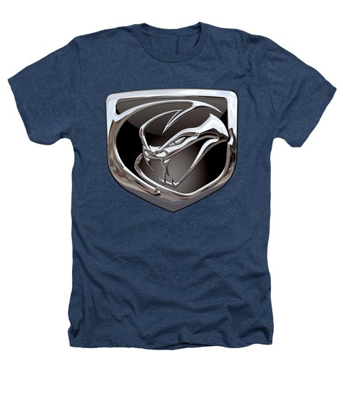 Dodge Viper - 3d Badge On Black Heathers T-Shirt by Serge Averbukh