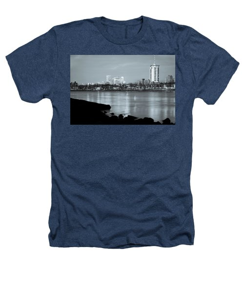 Downtown Tulsa Oklahoma - University Tower View - Black And White Heathers T-Shirt by Gregory Ballos