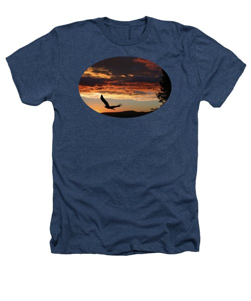Eagle At Sunset Heathers T-Shirt by Shane Bechler
