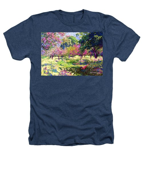 Echoes From Heaven, Spring Orchard Blossom And Pheasant Heathers T-Shirt by Jane Small