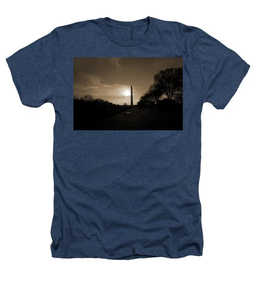 Evening Washington Monument Silhouette Heathers T-Shirt by Betsy Knapp