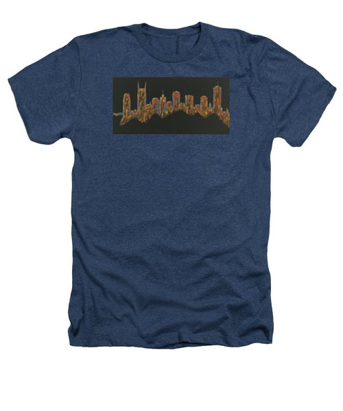 Floating Nashville Skyline Bl Heathers T-Shirt by Helen Prater