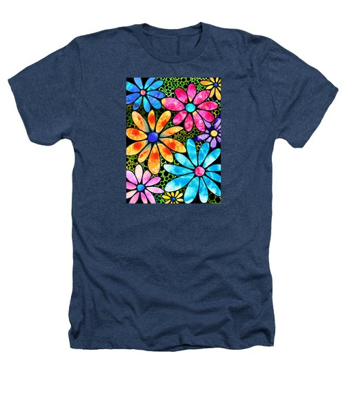 Floral Art - Big Flower Love - Sharon Cummings Heathers T-Shirt by Sharon Cummings