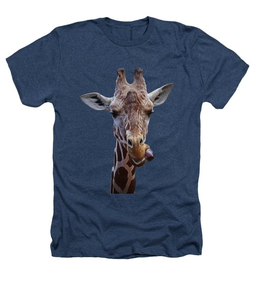 Giraffe Face Heathers T-Shirt by Ernie Echols