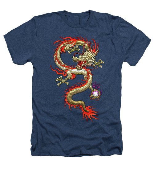 Golden Chinese Dragon Fucanglong On Black Silk Heathers T-Shirt by Serge Averbukh