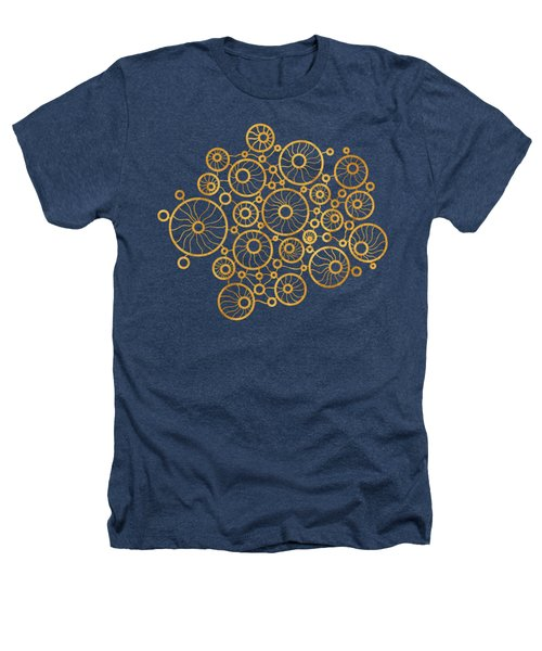 Golden Circles Black Heathers T-Shirt by Frank Tschakert