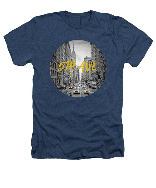 Graphic Art Nyc 5th Avenue Yellow Cabs Heathers T-Shirt by Melanie Viola