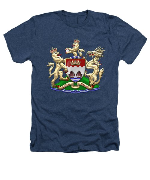 Hong Kong - 1959-1997 Coat Of Arms Over Black Leather  Heathers T-Shirt by Serge Averbukh