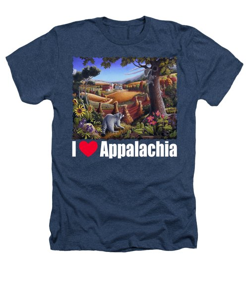 I Love Appalachia T Shirt - Coon Gap Holler 2 - Country Farm Landscape Heathers T-Shirt by Walt Curlee