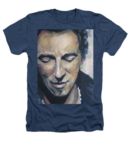 It's Boss Time II - Bruce Springsteen Portrait Heathers T-Shirt by Khairzul MG