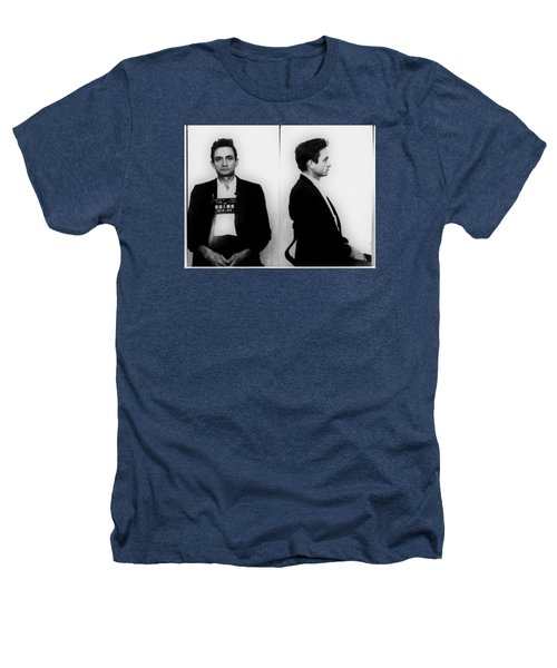 Johnny Cash Mug Shot Horizontal Heathers T-Shirt by Tony Rubino