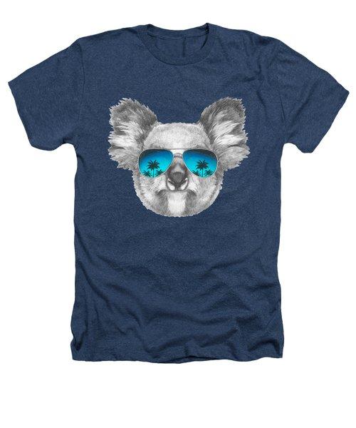 Koala With Mirror Sunglasses Heathers T-Shirt by Marco Sousa