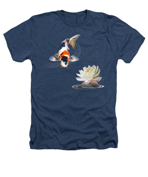 Koi Carp Abstract With Water Lily Square Heathers T-Shirt by Gill Billington