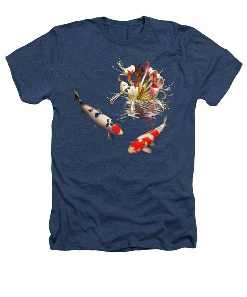Koi With Honeysuckle Reflections Square Heathers T-Shirt by Gill Billington