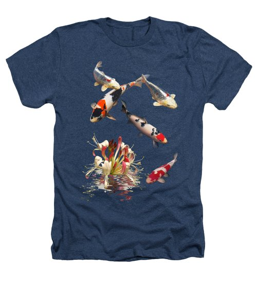 Koi With Honeysuckle Reflections Vertical Heathers T-Shirt by Gill Billington