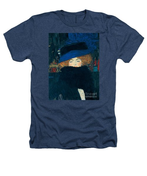 Lady With A Hat And A Feather Boa Heathers T-Shirt by Gustav Klimt