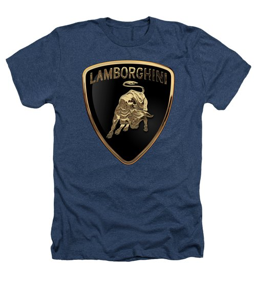 Lamborghini - 3d Badge On Black Heathers T-Shirt by Serge Averbukh