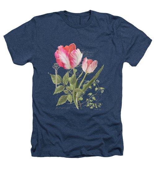 Les Fleurs Magnifiques En Noir - Parrot Tulips Vintage Style Heathers T-Shirt by Audrey Jeanne Roberts
