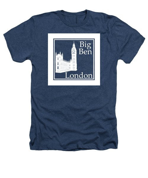 London's Big Ben In White - Inverse  Heathers T-Shirt by Custom Home Fashions