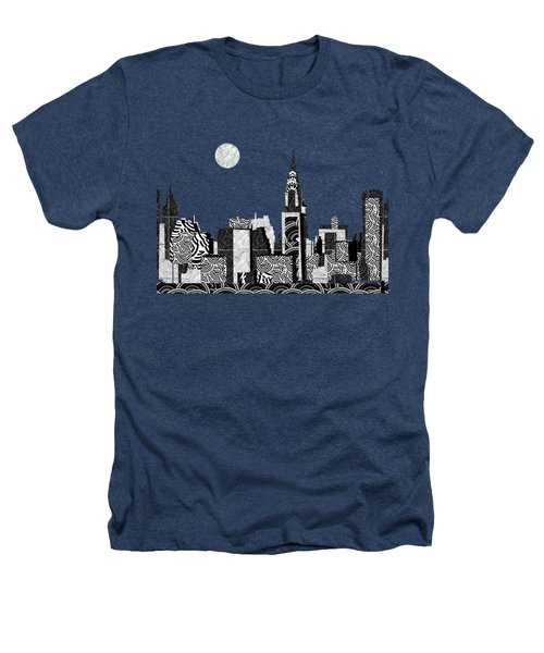 Manhattan At Night New York Swings Heathers T-Shirt by Cecely Bloom