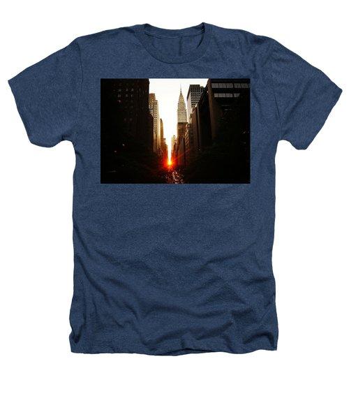 Manhattanhenge Sunset Over The Heart Of New York City Heathers T-Shirt by Vivienne Gucwa