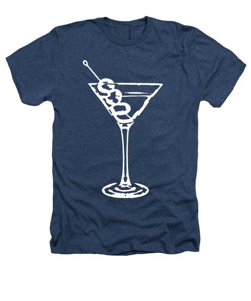 Martini Glass Tee White Heathers T-Shirt by Edward Fielding