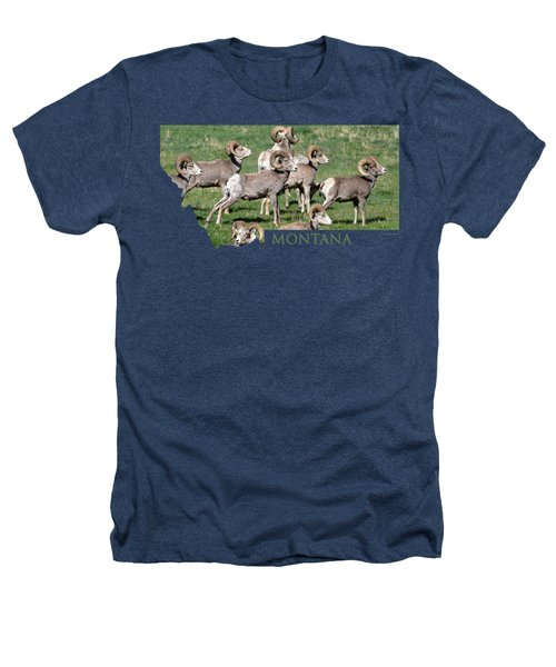 Montana -bighorn Rams Heathers T-Shirt by Whispering Peaks Photography