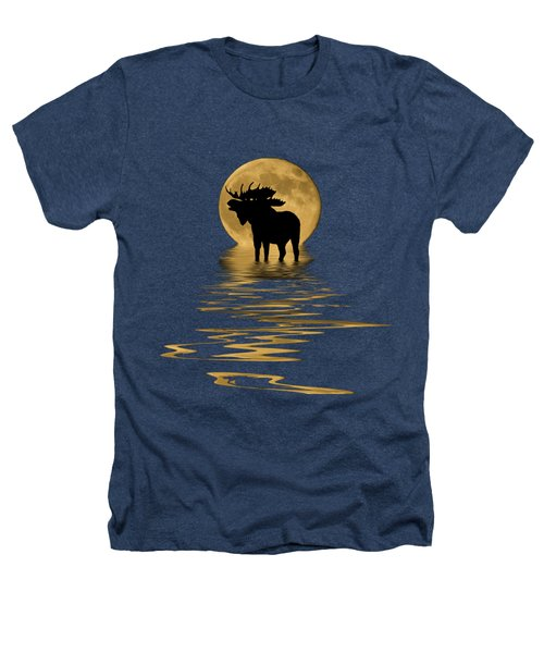 Moose In The Moonlight Heathers T-Shirt by Shane Bechler