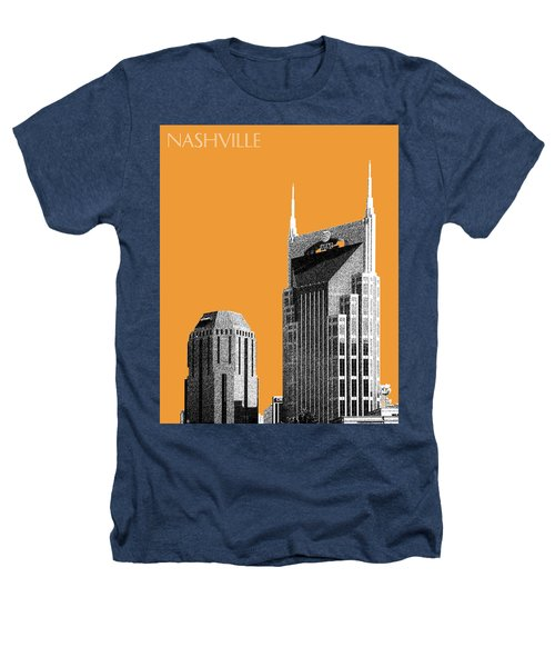 Nashville Skyline At And T Batman Building - Orange Heathers T-Shirt by DB Artist