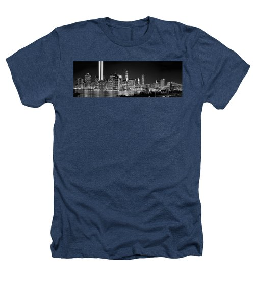 New York City Bw Tribute In Lights And Lower Manhattan At Night Black And White Nyc Heathers T-Shirt by Jon Holiday