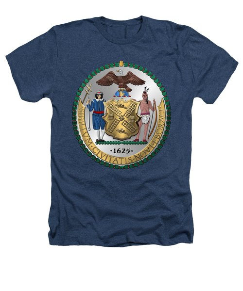New York City Coat Of Arms - City Of New York Seal Over Blue Velvet Heathers T-Shirt by Serge Averbukh