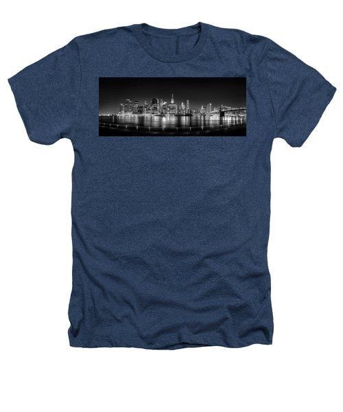 New York City Skyline Panorama At Night Bw Heathers T-Shirt by Az Jackson