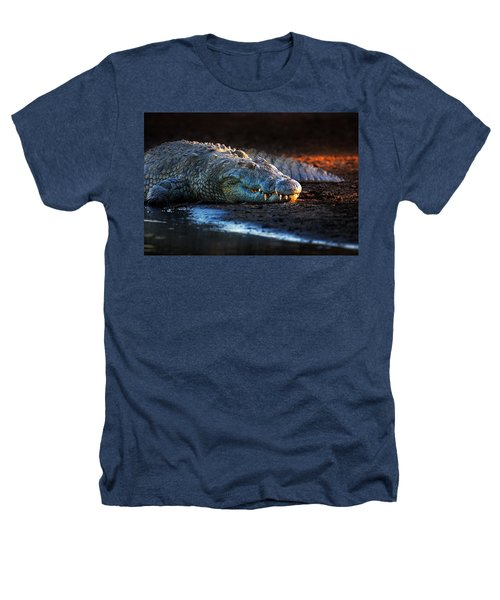 Nile Crocodile On Riverbank-1 Heathers T-Shirt by Johan Swanepoel