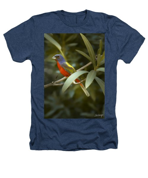 Painted Bunting Male Heathers T-Shirt by Phill Doherty