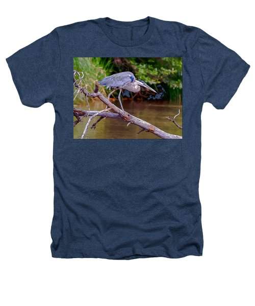 Painting Blue Heron Oak Creek Heathers T-Shirt by Dr Bob Johnston