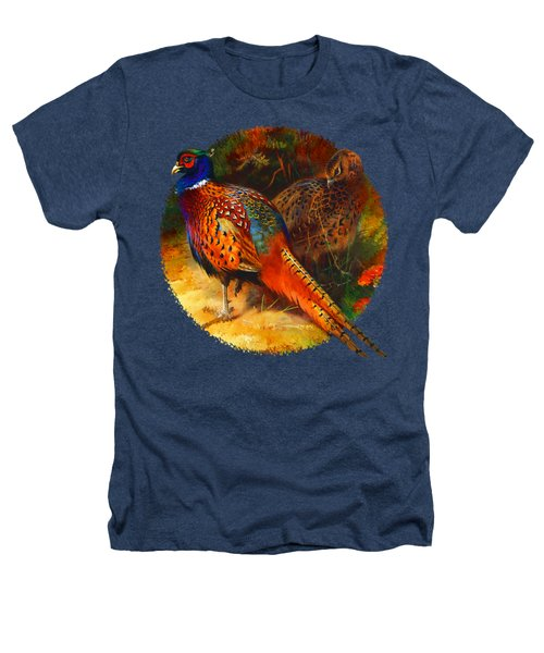 Pheasant Pair Heathers T-Shirt by Raven SiJohn