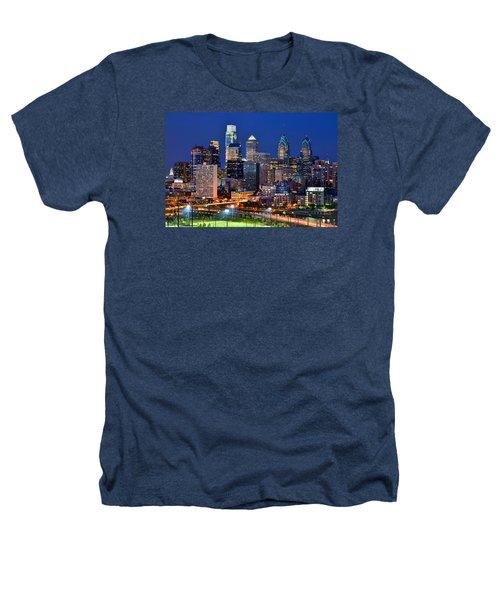 Philadelphia Skyline At Night Heathers T-Shirt by Jon Holiday