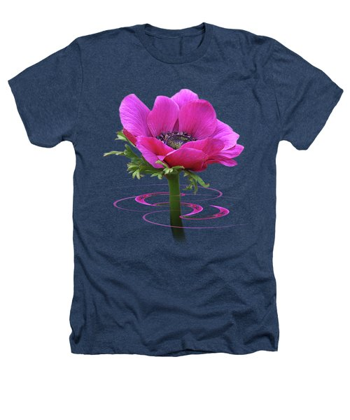 Pink Anemone Whirl Heathers T-Shirt by Gill Billington