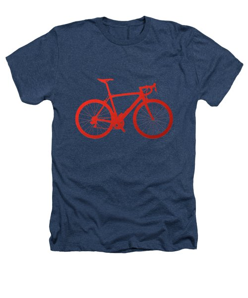 Road Bike Silhouette - Red On Black Canvas Heathers T-Shirt by Serge Averbukh